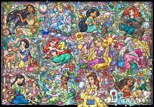 1000 Piece Jigsaw Puzzle Disney Princess Collection Stained Glass [Stained Art] (51.2x73.7cm)