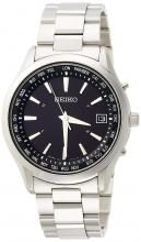 SEIKO SELECTION Solar Radio World Time Notation Black Dial Sapphire Glass SBTM273Men's Silver