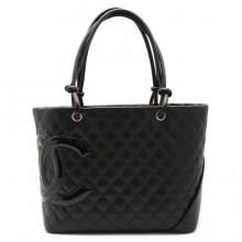 CHANEL Chanel Cambon Line Coco Mark Large Tote Shoulder Bag Tote Bag Soft Calf Enamel Black Pink A25169 (Used)