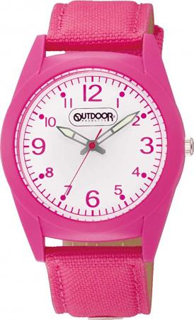 CITIZEN Q & Q analog OUTDOOR PRODUCTS waterproof nylon leather belt VS46-010 Ladies Pink