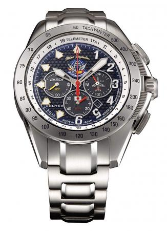 KENTEX Chronograph Solar JSDF Series Blue Impulse Limited S720M-04 Men's Silver
