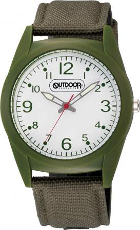 CITIZEN Q & Q analog OUTDOOR PRODUCTS waterproof nylon leather belt VS46-004 Men's green
