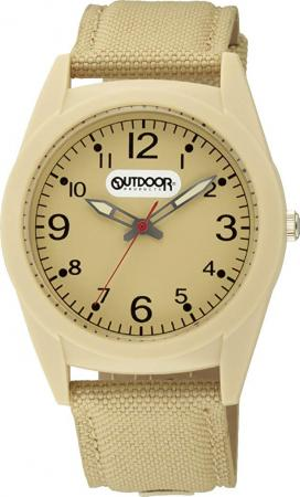 Citizen Q & Q analog OUTDOOR PRODUCTS waterproof nylon leather belt VS46-009 beige
