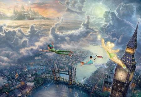 1000 Piece Jigsaw Puzzle Peter Pan Tinker Bell and Peter Pan Fly to Never Land Special Art Collection (51x73.5cm)