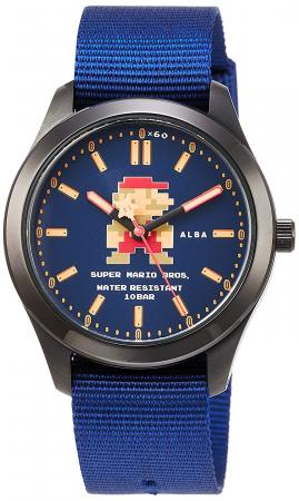 SEIKO ALBA Super Mario Collaboration Model Starting Mario Design Navy Dial Reinforced Waterproof for Daily Life (10 ATM) ACCK422 Blue