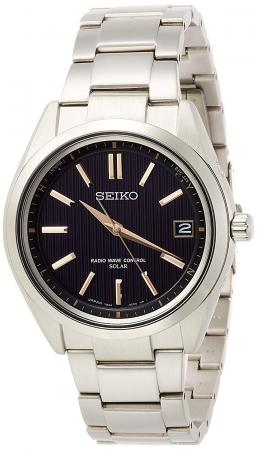 SEIKO BRIGHTZ Solar radio wave Titanium model Sapphire glass Black Dial SAGZ087 Men's Silver