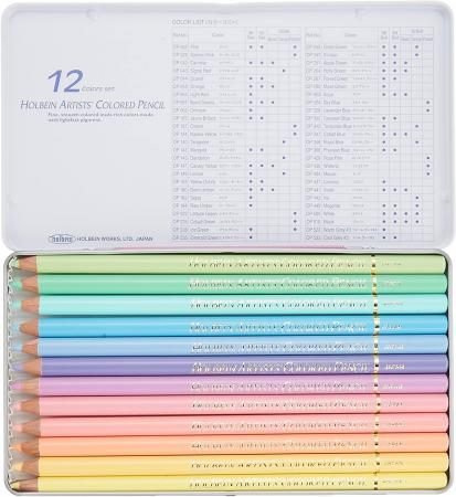 Holbein color pencil 12 color pastel tone set