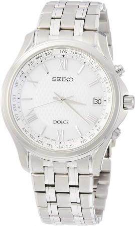 DOLCE Solar radio wave Titanium model Platinum diamond shield White dial Curve sapphire glass SADZ201 Men's Silver
