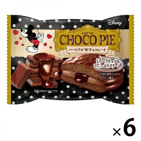 Lotte Choco Pie (Heartful W Chocolate) Sold separately Chocolate x 6 [pantry]
