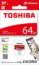 TOSHIBA SDXC Card 64GB Class10 UHS-I compatible (maximum transfer speed 50MB / s) 5-year warranty Made in Japan SD-NFC64GB