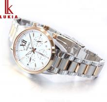SEIKO LUKIA Solar Chronograph White Dial Roman Font Sapphire Glass Reinforced Waterproof for Daily Life (10 ATM) SSVS040 Ladies Gold