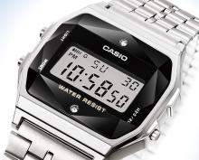 A159WAD-1JF Men's Silver with CASIO Wristwatch Standard Natural Diamond